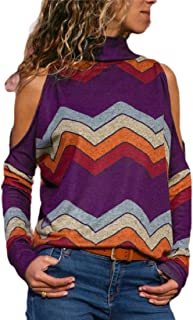 Womens Open Shoulder Striped Sexy Long-Sleeved Tunic Tops High Neck Top