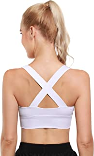 OUGES Sports Bra for Women Strappy Medium Support Yoga Bra Wirefree Padded Workout Fitness Bra with Removable Cups