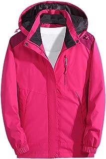 SOMESHINE Women's Warm Raincoats Windbreaker Rain Jacket Waterproof Lightweight Outdoor Hooded Trench Coats Hiking Jacket