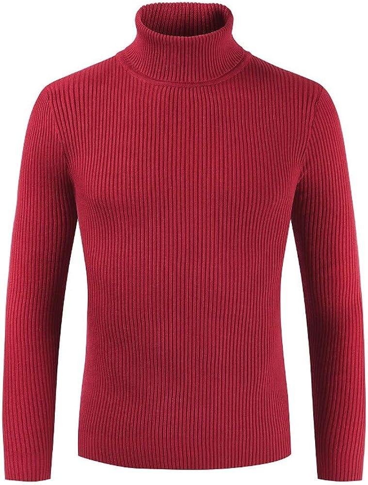 MODOQO Men's Turtleneck Sweaters Long Sleeve Warm Soft Breathable Pullover Knitwear