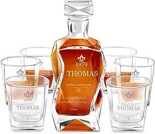 Murrano Whiskey Karaffe  6er Whiskygläser Set mit Gravur - 700ml Whisky Dekanter - Geschenk zum Geburtstag für Männer - Guter Jahrgang
