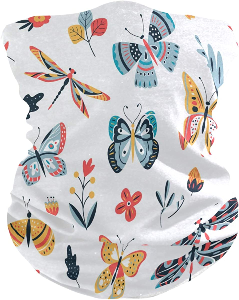 SUABO Neck Gaiter for Women Men Lying Butterflies Face Sun Scarf Wrist Band Bandanas for Dust, Outdoors, Sports
