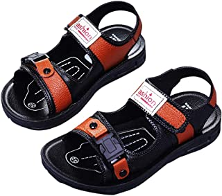 Baviue Leather Sport Anti-Skid Outdoor Girls Sandles Boys Athletic Sandals Blue 25 8.5 M US Toddler