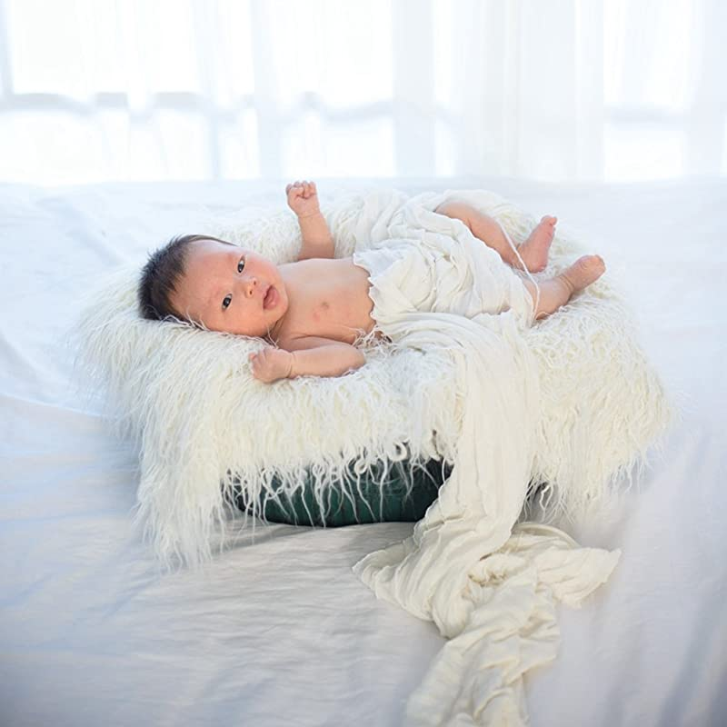 NUOLUX Baby Newborn Fur Photography Photo Props Blanket Rug Beanbag Background Backdrops White