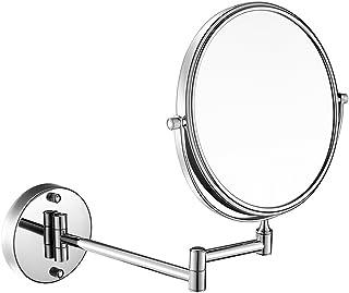 ZYLE 7x / 1X مكبرة مرآة الخيالة الجدار، 360 درجة دوارة مزدوجة الوجهين 8 بوصة سطح مرآة الحمام مع الانتهاء من الكروم