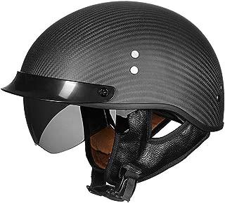 VCOROS Open Face Retro Motorcycle Helmet Sun Shield Man Women Carbon Fiber Half Face Cruises Helmets (Flat Black, M)