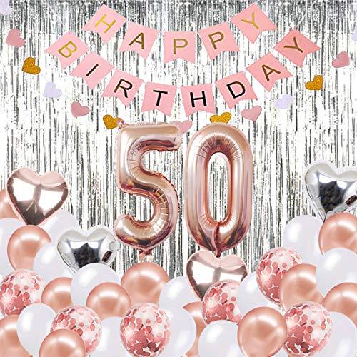 50. Geburtstag Dekorationen Banner Ballon, alles Gute zum Geburtstag Banner, 50. Rose Gold Anzahl Luftballons, Nummer 50 Geburtstag Luftballons, 50 Jahre alt Geburtstag Dekoration Lieferungen