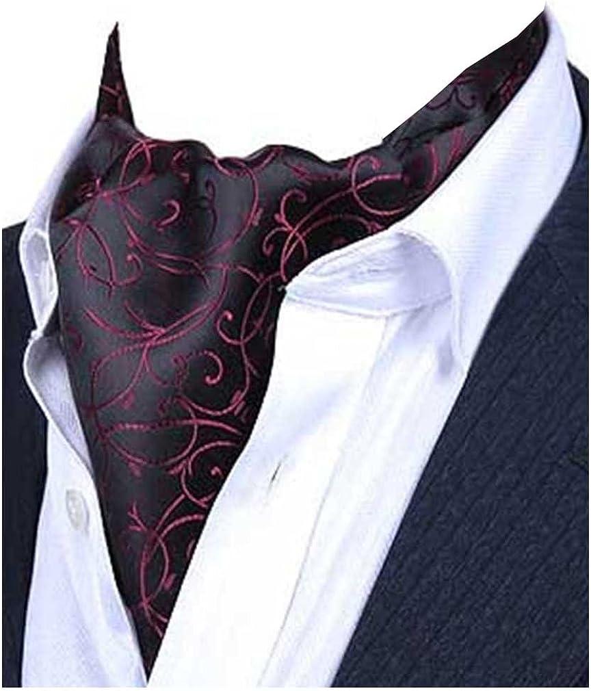L04BABY Men's Black Grey Pasily Floral Silk Cravat Ties Jacquard Woven Ascot