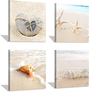 Seashell Canvas Wall Art Print: Rustic Starfish Graphic Artwork Painting on Canvas for Wall Decor for Bathroom (12''x12''x4pcs)