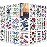 Lady Up Temporary Tattoos Stickers 20 Sheets Body Art Flowers, Roses, Butterflies Tattoo for Women, Mixed Style and Multi-Colored Waterproof, 90×190mm