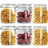 Tarros de cristal de 750 ml con tapa con bisagra, paquete de 6 botes de vidrio herméticos para almacenamiento de alimentos y cocina, tarros redondos con junta de goma a prueba de fugas, transparente
