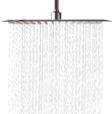 Lordear 16 Inch Rainfall Shower Head Solid Square Ultra Thin 304 Stainless Steel Polish Chrome Rain Shower Head,Waterfall Full Body Coverage with Silicone Nozzle