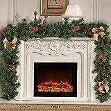 willkey Guirlande de Noël sapins Artificiel Décoré avec des cônes Baies arcs Décoration de Noël pour escaliers Porte Murale cheminée 1.8m (1 pcs)