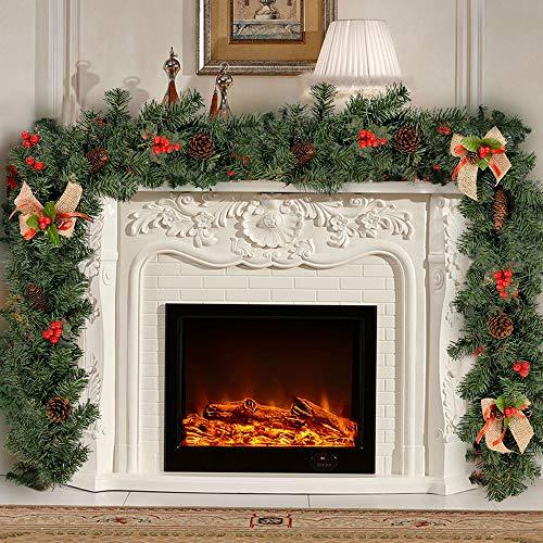 FlowersSea Guirlande de Noël 1,8 m avec pommes de pin et baies en toile de jute avec nœud décoratif vert pour escaliers, cheminées, intérieur et extérieur (1,8 m)
