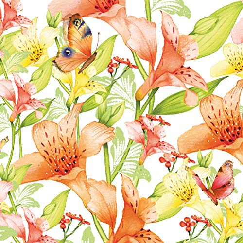 Home Collection Maison Cuisine Set 40 Serviettes de Table Jetables 3 Plis Motif Fleurs Papillons Orange