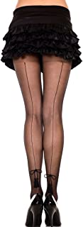MUSIC LEGS Women's Backseam Sheer Pantyhose with Tassel Bow