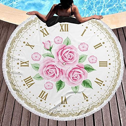 Toalla de playa redonda de microfibra, manta de playa, reloj vintage, números romanos, estilo vintage, toalla de playa ligera para mujeres y hombres de 122 cm
