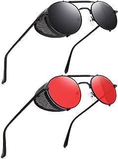 نظارات شمسية بتصميم ستيمبنك الكلاسيكي والعتيق باطار معدني دائري للرجال والنساء من رونسو