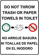 metal Signs Aluminum Restroom Etiquette Sign, 12 x 8 in. with English + Spanish Text, White