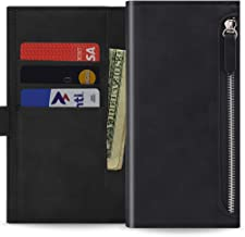 Qoosan LG Q6 Case, LG Q6 Plus Wallet Case [Zipper] Protective PU Leather Flip Cover with Card Holder & Zipper Pocket - Black