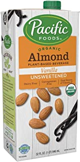 Pacific Foods Organic Unsweetened Almond Vanilla Plant-Based Beverage, 32oz, 12-pack