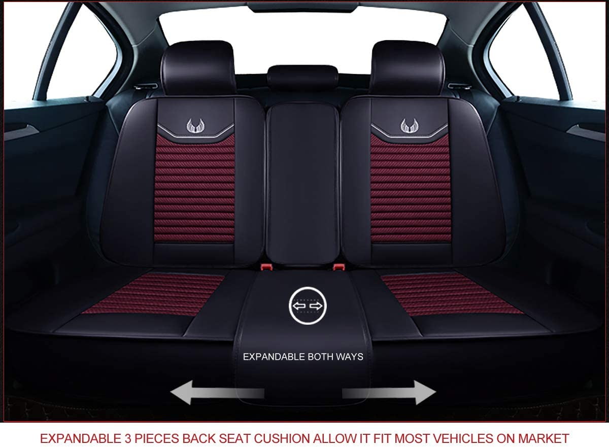 OS-008 Full Set, Brown OASIS AUTO Leather/&Fabric Car Seat Covers Faux Leatherette Automotive Vehicle Cushion Cover for Cars SUV Pick-up Truck Universal Fit Set Auto Interior Accessories