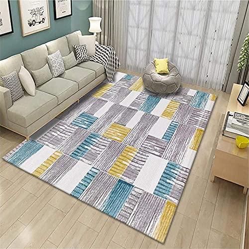Tapijten ornamenten voor woonkamer Ademend gezellig grijs geel blauw geometrisch ontwerp kan worden gewassen tapijt haard kleed gaming kamer decor 200X300 CM