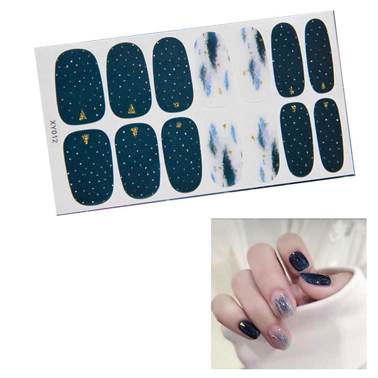 消すベルベット劣る14ピース ネイルシール 貼るだけマニキュア ネイルアート ネイルラップ ネイルアクセサリー女性 爪やすり1本付き (XY012)