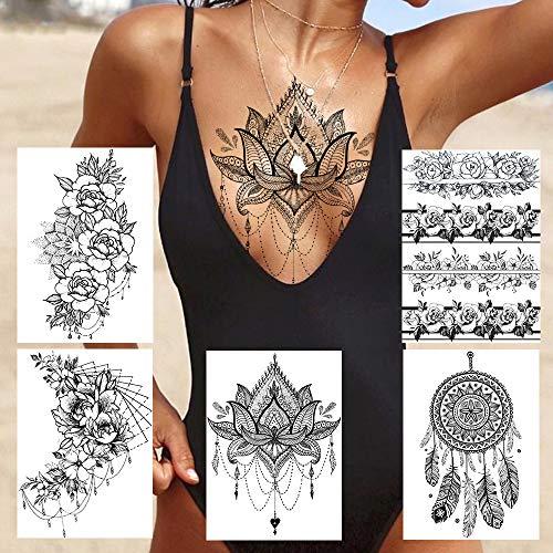 MKMBLV Largo Atractivo del Brazo Lleno Rose Reloj Tatuajes temporales para el Maquillaje Hombres Mujeres Tatoo Pata Grande del Arte falsificación Flor del Tigre Pegatinas Tatuaje