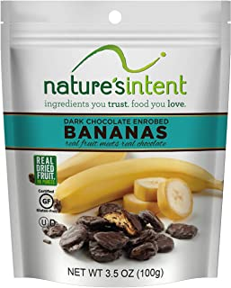 Nature's Intent Dark Chocolate Covered Dried Bananas 3.5 oz. (4 pack) Gluten Free, Whole Food Snacks