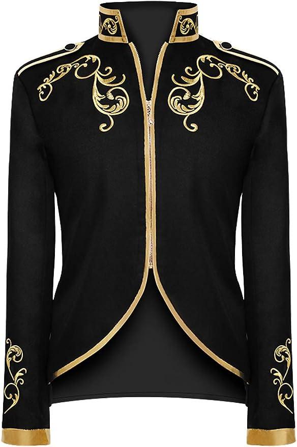 Men's Steampunk Jackets, Coats & Suits TKTNA Mens Court Prince Stylish Gold Embroidered Jacket Steampunk Uniform Costume  AT vintagedancer.com