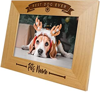 Best Dog Ever Add Pet Name-Personalized Custom Picture Frame Engraved Wood Dog Picture Frame,Dog Memorial Picture Frame,Dog Lover Gift,Dog Birthday,Dog Dad,Dog Mom,Best Puppy Gift (5x7 Horizontal)