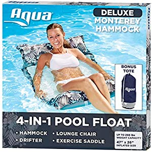 Aqua Deluxe Resort Quality Monterey Hammock, 4-in-1 Multi-Purpose Inflatable Pool Float (Saddle, Lounge Chair, Hammock…