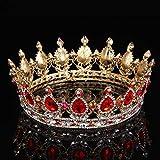 ZHJS Novia Tocado Cumpleaños Corona con Maquillaje Pastel De Boda Decorado con Diamantes Oro de aleación de Corona Completa