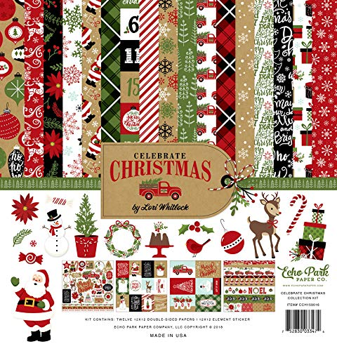 Echo Park Paper Company Celebrate Christmas Collection Kit paper, Red/Green/Tan/Burlap/Black