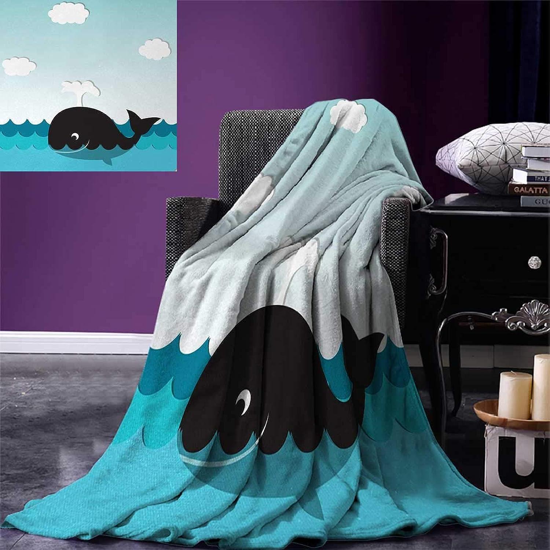 Whale Throw Blanket Cute Smiling Happy Black Whale Swimming in The Wavy Sunny Ocean Cartoon Artwork Velvet Plush Throw Blanket 60 x50  Black and bluee