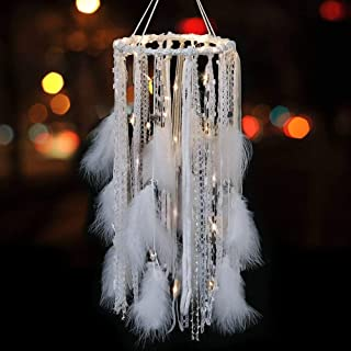 LAVAY Feather Dream Catcher with LED Lights Silver Bells Large Boho Light up Dreamcatcher Baby Kids Bedroom Wall Hanging Decoration Wedding Party Ornament Gift Nursery Decor