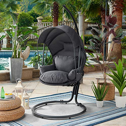 Barton Patio Hanging Lounge Chair with Deep Cushion Chair UV Resistant Canopy Top, Grey