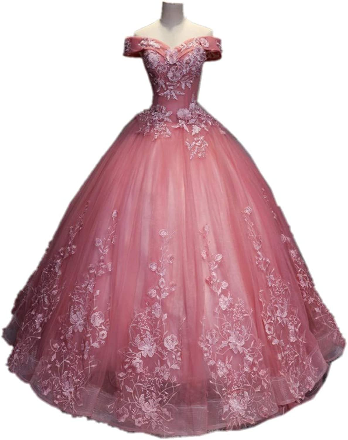 Darcy74Dulles Women's Off The Shoulder Pink Quinceanera Dresses Ball Gowns Appliques Puffy Long Prom Gowns Dresses Plus Size