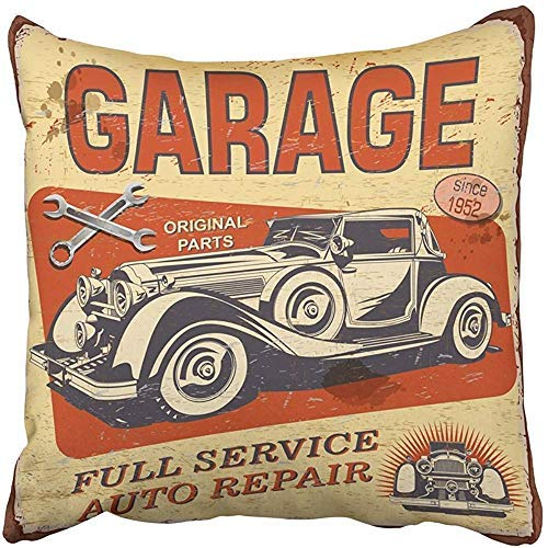 ZGNNN-EU Cartel Vintage Garage Retro Car Mecánico 1950S 1960S Fundas de cojín para automóvil envejecido, 50 cm x 50 cm