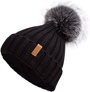 Pilipala Women Winter Knitted Beanie Hat with Fur Pom Bobble Hat Skull Beanie for Women