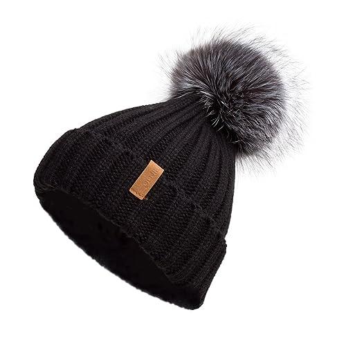 300c04bff3d6c2 Pilipala Women Knit Winter Turn up Beanie Hat with Fur Pompom VC17604