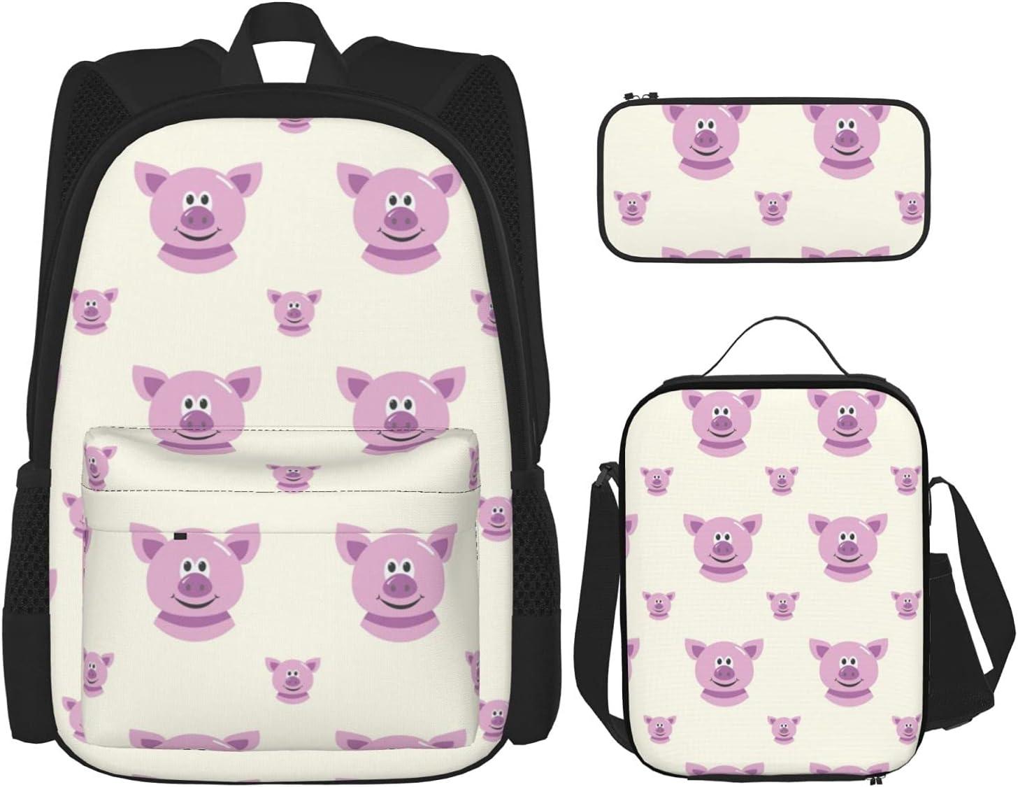 Pig New sales Cheap SALE Start Pattern FashionDurable Backpack Set Bac Child 3-Piece Travel