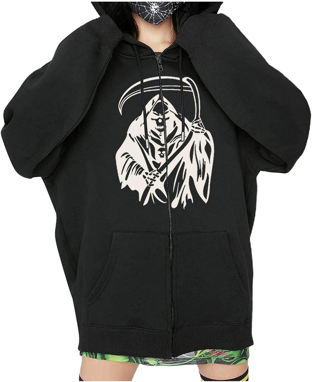 UOCUFY Hoodies for Women, Womens Y2k Skeleton Zip Up Halloween Graphic Oversized Pullover Sweatshirt Jacket with Pockets