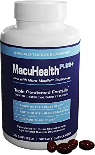 MacuHealth PLUS+ Eye Vitamins Supplement for Adults (90 Days Supply) AREDS2 Based Formula for AMD with Lutein, Zeaxanthin,...