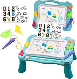yeesport Kids Magnetic Drawing Table Set Plastic Writing Learning Pad Magnetic Drawing Desk Writing Sketch Board Magnetic ...