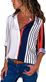 Colorful Striped Shirt Top Womens Casual Long Sleeve Color Block Stripe Button T Shirts Tops Blouse Duseedik