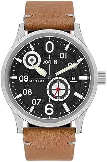 AVI-8 Men's FLYBOY Centenary 1960S Stainless Steel Japanese-Quartz Watch with Leather Strap, Beige, 22 (Model: AV-4060-01)
