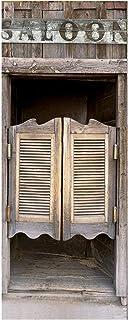 Modern Art Saloon 3D Door Sticker, Peel and Stick Vinyl Door Mural Decals for Home Decor,..