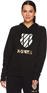 K-Swiss Women's Pullover Crop Hoodie - Hooded Activewear Workout Sweatshirt